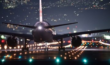 night flight, plane, airport